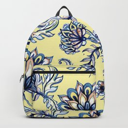 yellow and blue batik Backpack