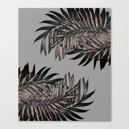 Gray Black Palm Leaves with Rose Gold Glitter #5 #tropical #decor #art #society6 Canvas Print
