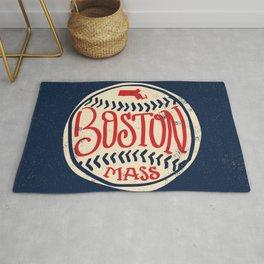 Hand Drawn Baseball for Boston with custom Lettering Rug