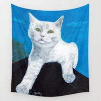 bianca green Wall Tapestries featuring Bianca Cat Portrait by gretzky