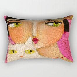 White Cat and Flapper girl pretty painting by Tascha Rectangular Pillow
