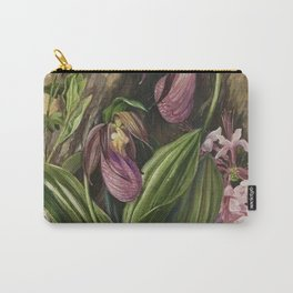 New England Lady Slipper Wild Orchids still life painting Carry-All Pouch