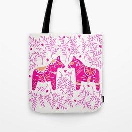 Swedish Dala Horses – Pink Palette Tote Bag