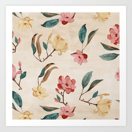 Magnolia Rain Art Print