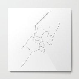 Baby anda Mom hand line art Metal Print