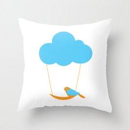 Cute bird and cloud Throw Pillow