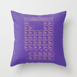 Periodic Table of Burger Elements - Purple Throw Pillow