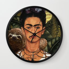 Frida Kahlo Self Portrait with a Sloth Wall Clock