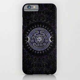 Hecate Wheel Ornament with Amethyst and Silver iPhone Case