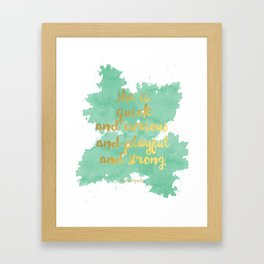 She is Quick and Curious and Playful and Strong Mint Green Kate Spade Quote Framed Art Print