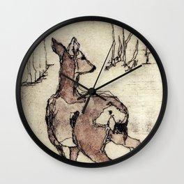 Deer | Watercolored Etching Wall Clock