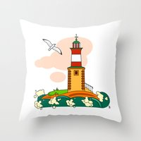 lighthouse Throw Pillows featuring Lighthouse by LaDa