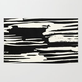 Modern Tribal Stripe Ivory and Black Rug