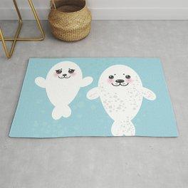 set Funny white fur seal pups, cute winking seals with pink cheeks and big eyes. Kawaii animal Rug