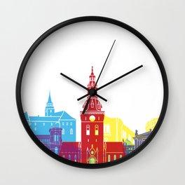 Oslo skyline pop Wall Clock
