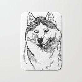 Siberian Husky Portrait Bath Mat