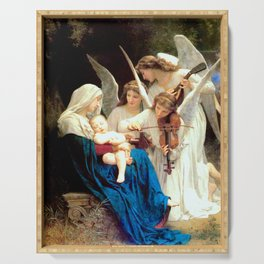 Madonna and Child Jesus and Angels Virgin Mary Art Our Lady Painting Serving Tray