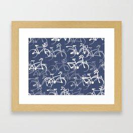 Bicycles Pattern | Medium Warm Blue Framed Art Print