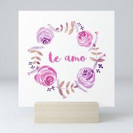 Te Amo - Pink Watercolor Floral Wreath 'I love you' in Spanish Mini Art Print