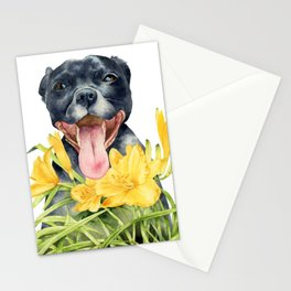 Joy | Pit Bull Dog and Daylily Watercolor Painting Stationery Cards