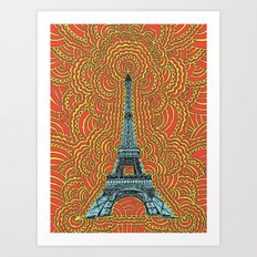 Eiffel Tower Drawing Meditation - Blue/Red/Yellow Art Print
