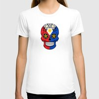 philippines T-shirts featuring Sugar Skull with Roses and Flag of Philippines by Jeff Bartels