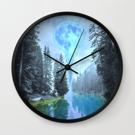 Melting Blue Moon Wall Clock