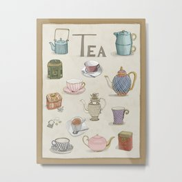 Vintage Teacups and Teapots Metal Print