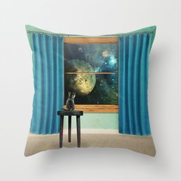 A cat looking outside Throw Pillow