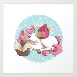 Poppettes with unicorn Art Print