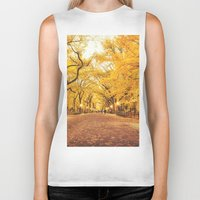 literary Biker Tanks featuring New York City Autumn by Vivienne Gucwa
