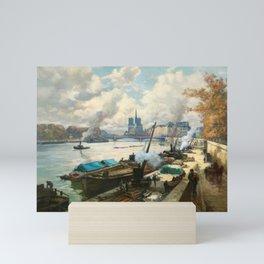 Notre Dame, River Seine, Paris Ile Saint-Louis with River Boats by Henri Alphonse Barnoin Mini Art Print