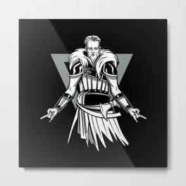 Heavy metal Viking with devil fork hands Metal Print