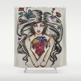 be still my beating heart anitomical love valentine tattoo brunette Shower Curtain