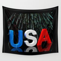 patriotic Wall Tapestries featuring Patriotic USA Sparkler   by Barrier Style & Design