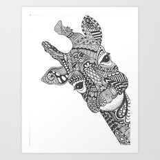 Zentangle Giraffe Art Print