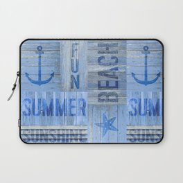 Blue Summer Beach Wood Laptop Sleeve
