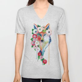 Fox and Flowers Unisex V-Neck