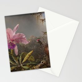 Cattelya Orchid And Three Brazilian Hummingbirds 1 By Martin Johnson Heade   Reproduction Stationery Cards