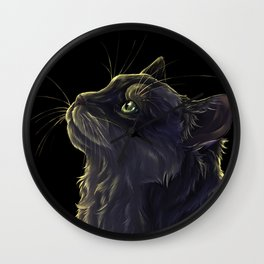 Cat and the light  Wall Clock