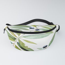 Leaves Berries Sage Green Turquiose Nature Art Floral Watercolor Fanny Pack