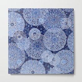 Blue Mandala Mix Metal Print