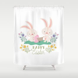 Happy Easter - Bunny Rabbits Eggs and Yellow, Purple Pink Flowers Shower Curtain