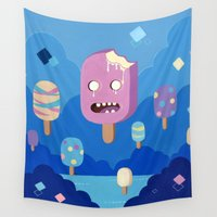 popsicle Wall Tapestries featuring Screaming Popsicle by Yuki Chen