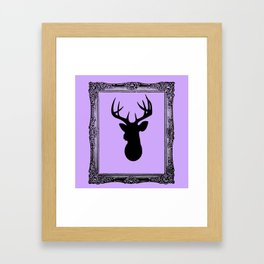 Deer Head - Fancy Border Lavendar Framed Art Print