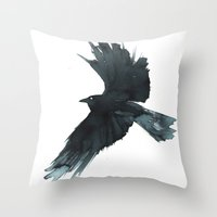 crow Throw Pillows featuring Crow by Cat Graff