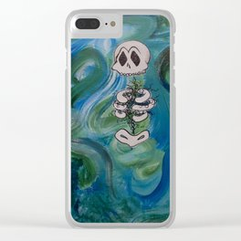 Blue Skelly Dude Clear iPhone Case
