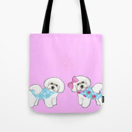 Bichon Frise Dogs in love- wearing pink and blue coats Tote Bag