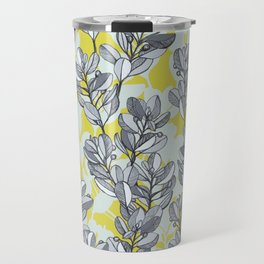 Leaf and Berry Sketch Pattern in Mustard and Ash Travel Mug