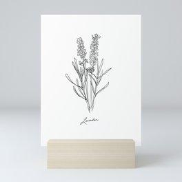 Lavender botanical minimalist line art Mini Art Print